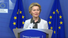 European Commission President Ursula von der Leyen (pictured) met with Greta Thunberg today